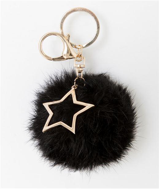 Porte clé pompon boule et étoile doré NOIR