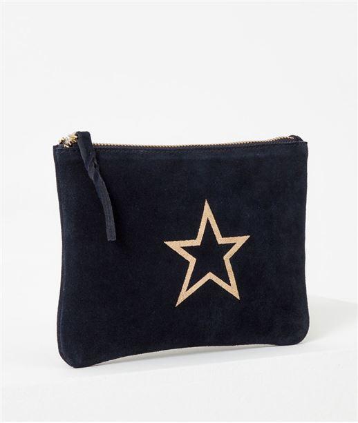 Sac femme pochette cuir et étoile BLEU