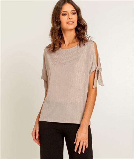 T-shirt femme irisé manches avec noeuds BEIGE