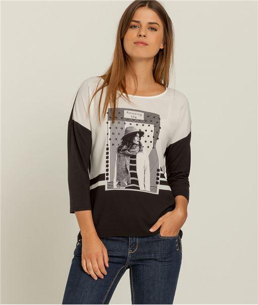 T-shirt femme imprimé photo NOIR