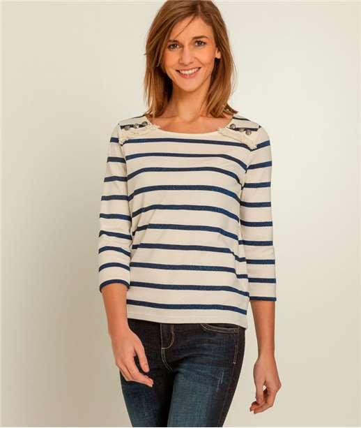 T-shirt femme marinière irisée ECRU
