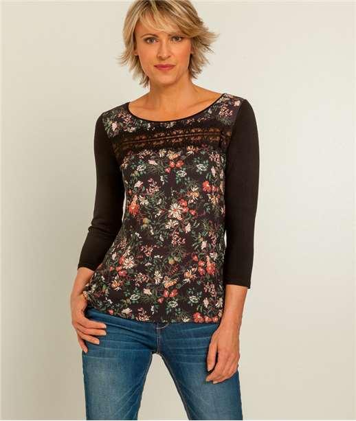 T-shirt femme imprimé fleurs et dentelle NOIR
