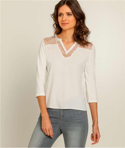 T-shirt femme dentelle ECRU