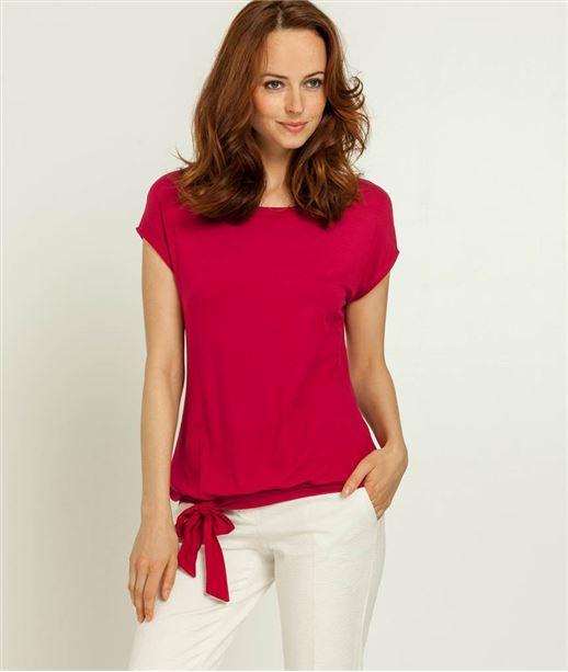 T-shirt femme uni avec noeud FRAMBOISE