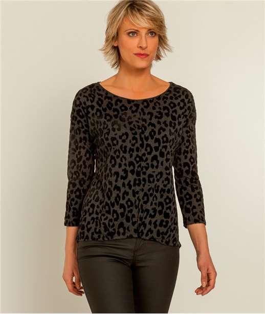 T-shirt femme léopard ANTHRACITE