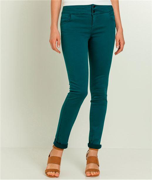 Pantalon femme taille haute vert canard CANARD