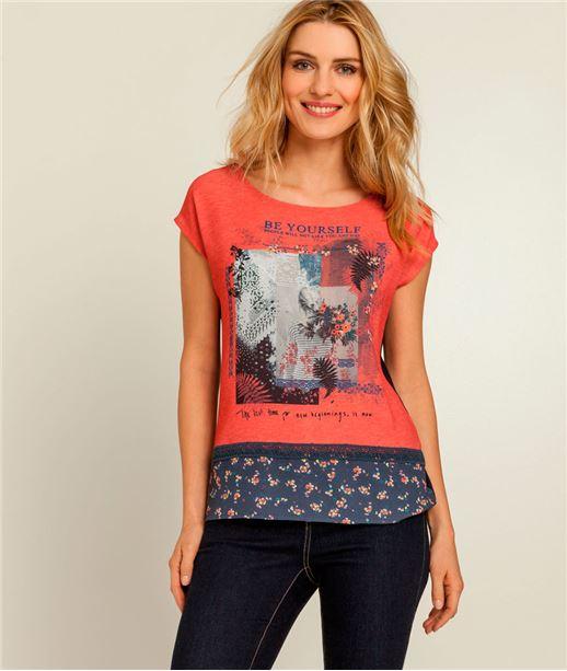 T-shirt femme imprimé floral ROUGE