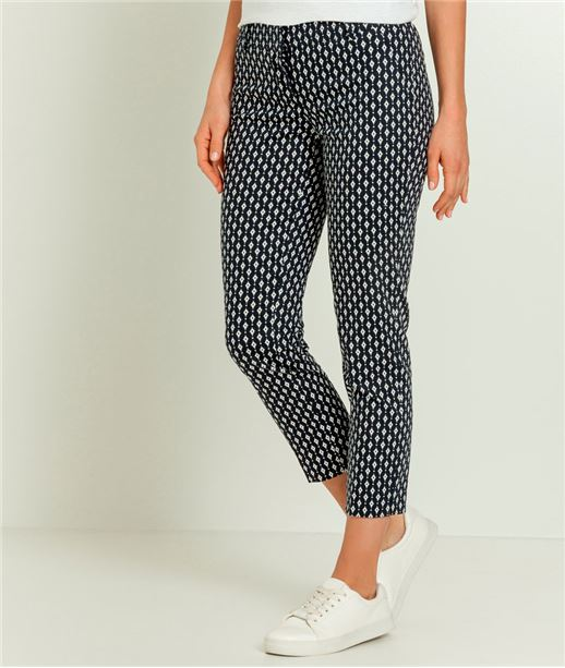 Pantalon femme imprimé raccourci BLEU MARINE