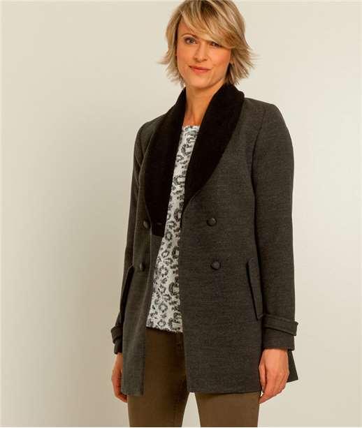 manteau femme col fausse fourrure GRIS