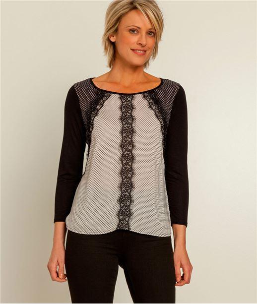 T-shirt femme imprimé et dentelle NOIR
