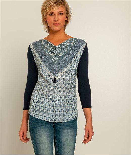 T-shirt femme imprimé col bénitier BLEU MARINE