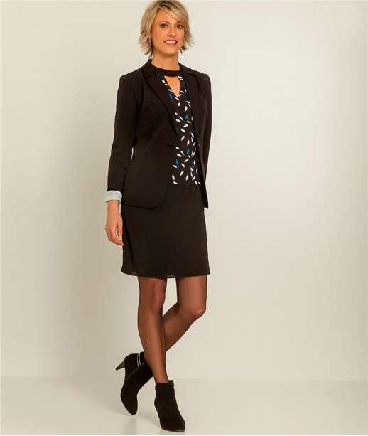 robe bimatière imprimée et unie NOIR