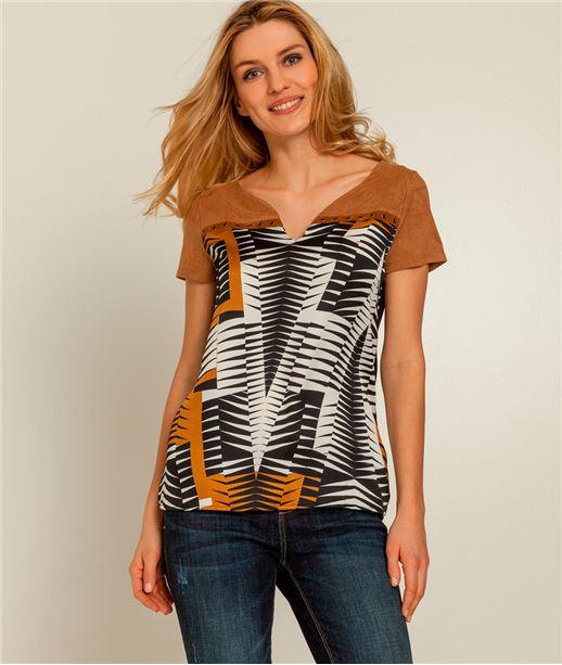 T-shirt femme bimatière suédine imprimé NOIR