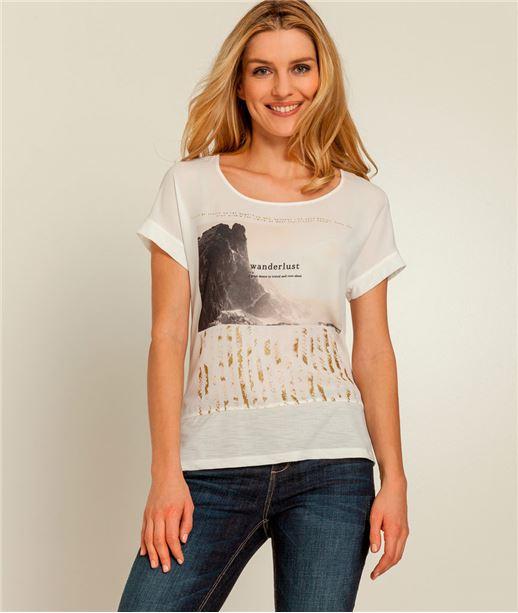 T-shirt femme bimatière imprimé doré ECRU