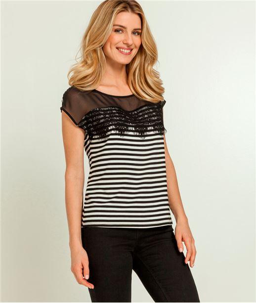 T-shirt femme rayures et dentelle noires NOIR