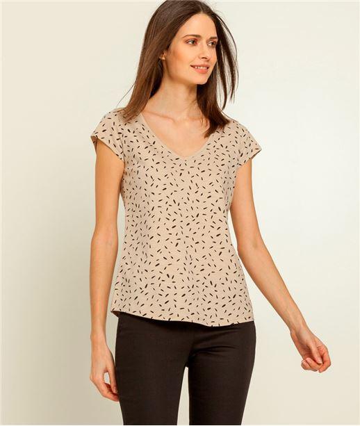 T-shirt femme imprimé col V BEIGE
