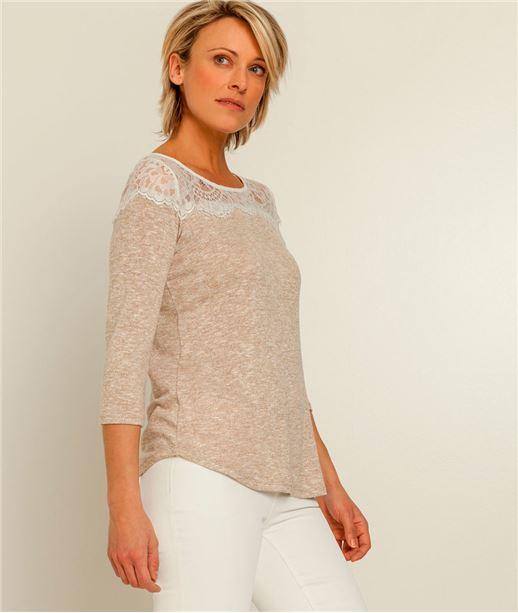 T-shirt femme haut fine dentelle BEIGE