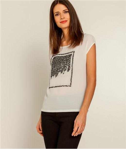 T-shirt femme décolleté dos léopard ECRU