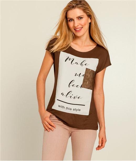 T-shirt femme message et patch KAKI