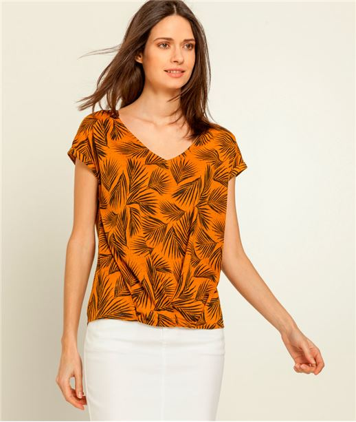 T-shirt femme imprimé feuillage SAFRAN