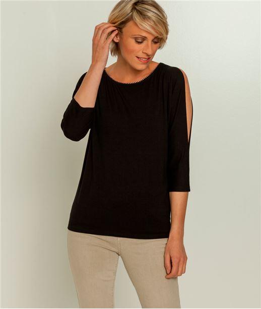 T-shirt femme manches fendues NOIR
