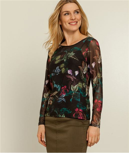 T-shirt femme fleurs imprimées NOIR