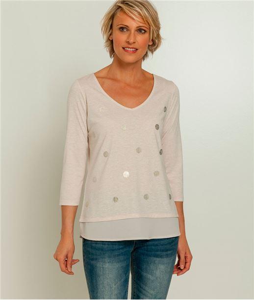 T-shirt femme pois brillants BEIGE