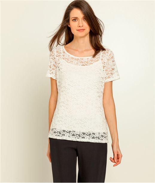 T-shirt femme dentelle et top ECRU