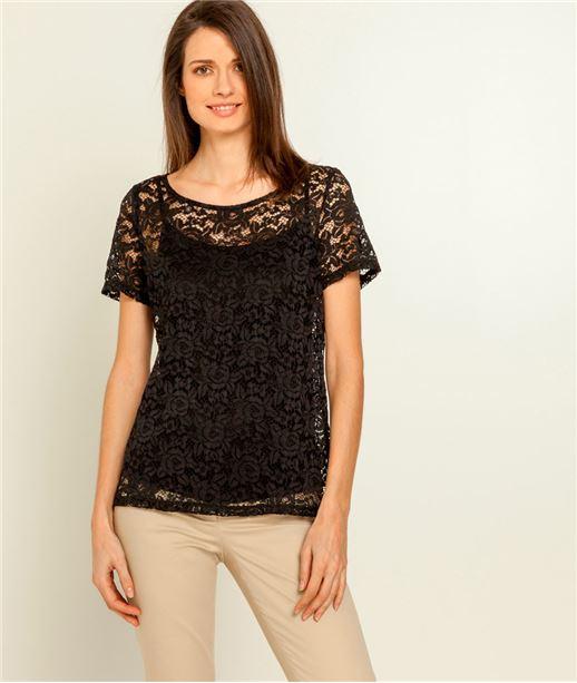 T-shirt femme dentelle et top NOIR