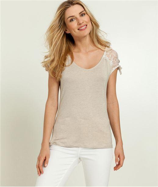 T-shirt femme dentelle épaules fendues BEIGE