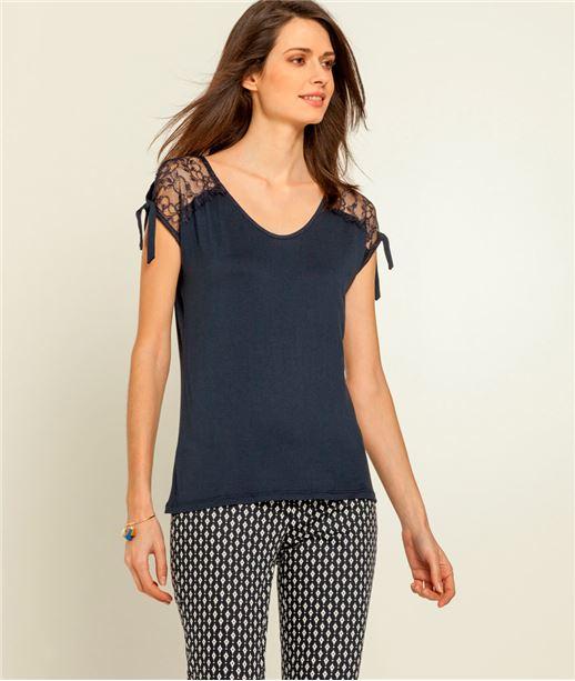 T-shirt femme dentelle épaules fendues BLEU MARINE