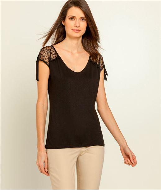 T-shirt femme dentelle épaules fendues NOIR