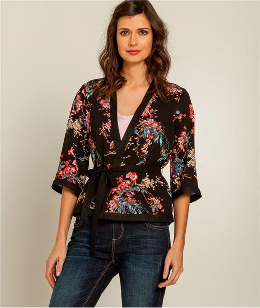 veste femme kimono imprimé NOIR