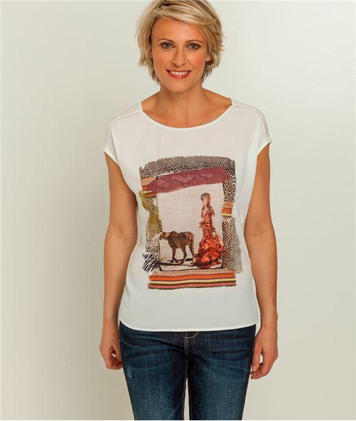 T-shirt femme imprimé savane ECRU