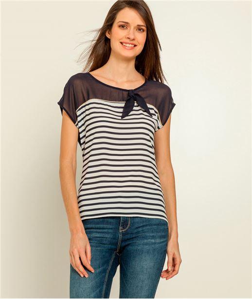 T-shirt femme marinière voile et noeud ECRU