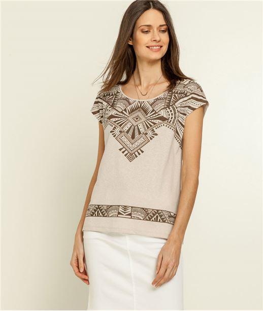 T-shirt femme imprimé ethnique BEIGE