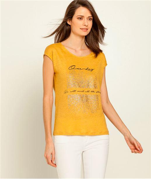 T-shirt femme en lin message et dos lacé SAFRAN
