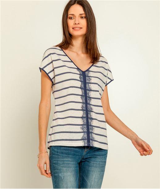 Tee-shirt femme rayé avec dentelle ECRU