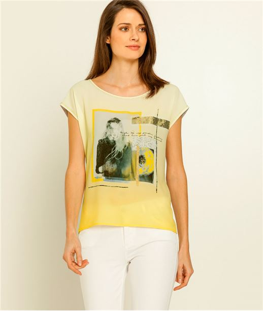 T-shirt femme imprimé photo de femme JAUNE