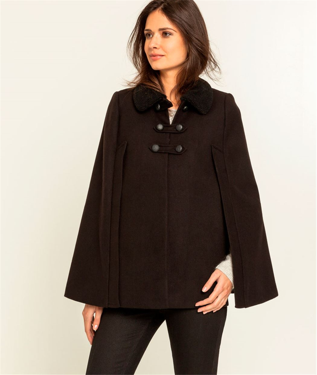 manteau femme cape avec col noir grain de malice. Black Bedroom Furniture Sets. Home Design Ideas