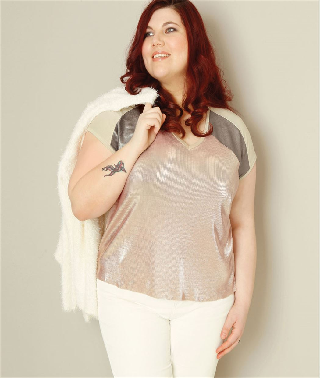 T-shirt femme irisé color bloc ROSE PALE