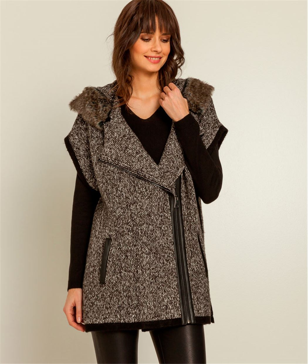 poncho femme zipp capuche gris grain de malice. Black Bedroom Furniture Sets. Home Design Ideas