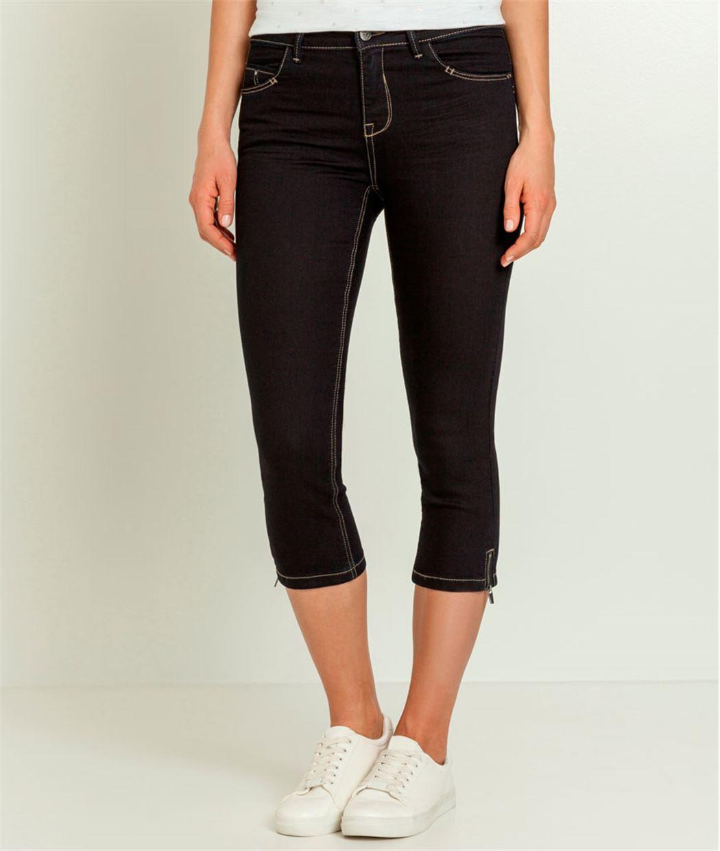 jean femme corsaire zipp blue black grain de malice. Black Bedroom Furniture Sets. Home Design Ideas
