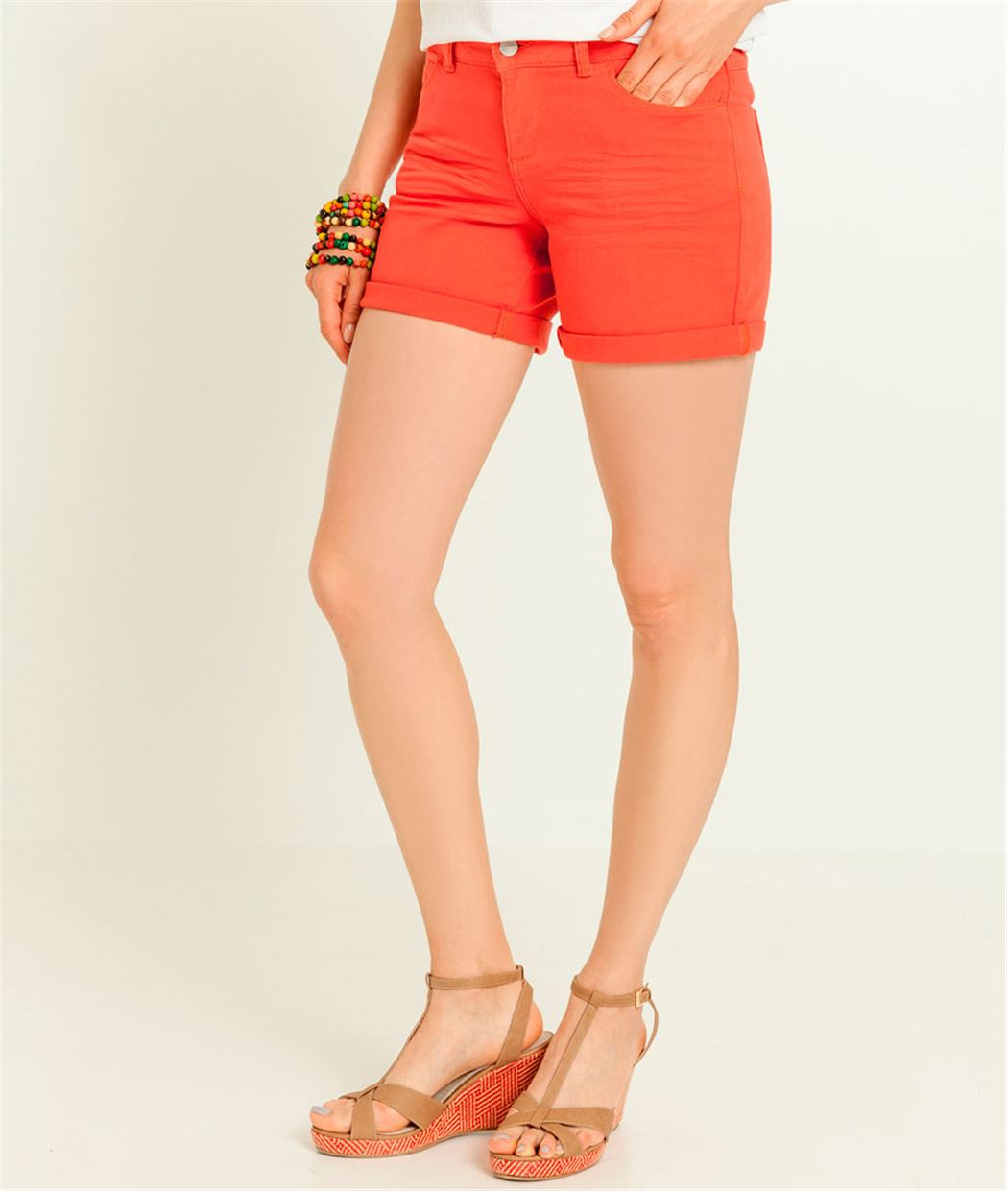Short femme denim basic ORANGE - Grain de