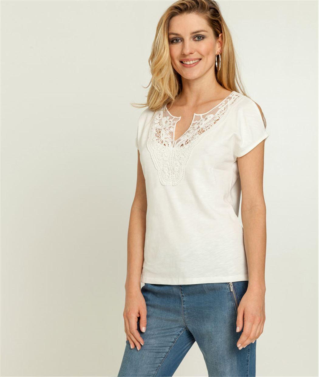 T-shirt femme dentelle + épaules fendues BLANC