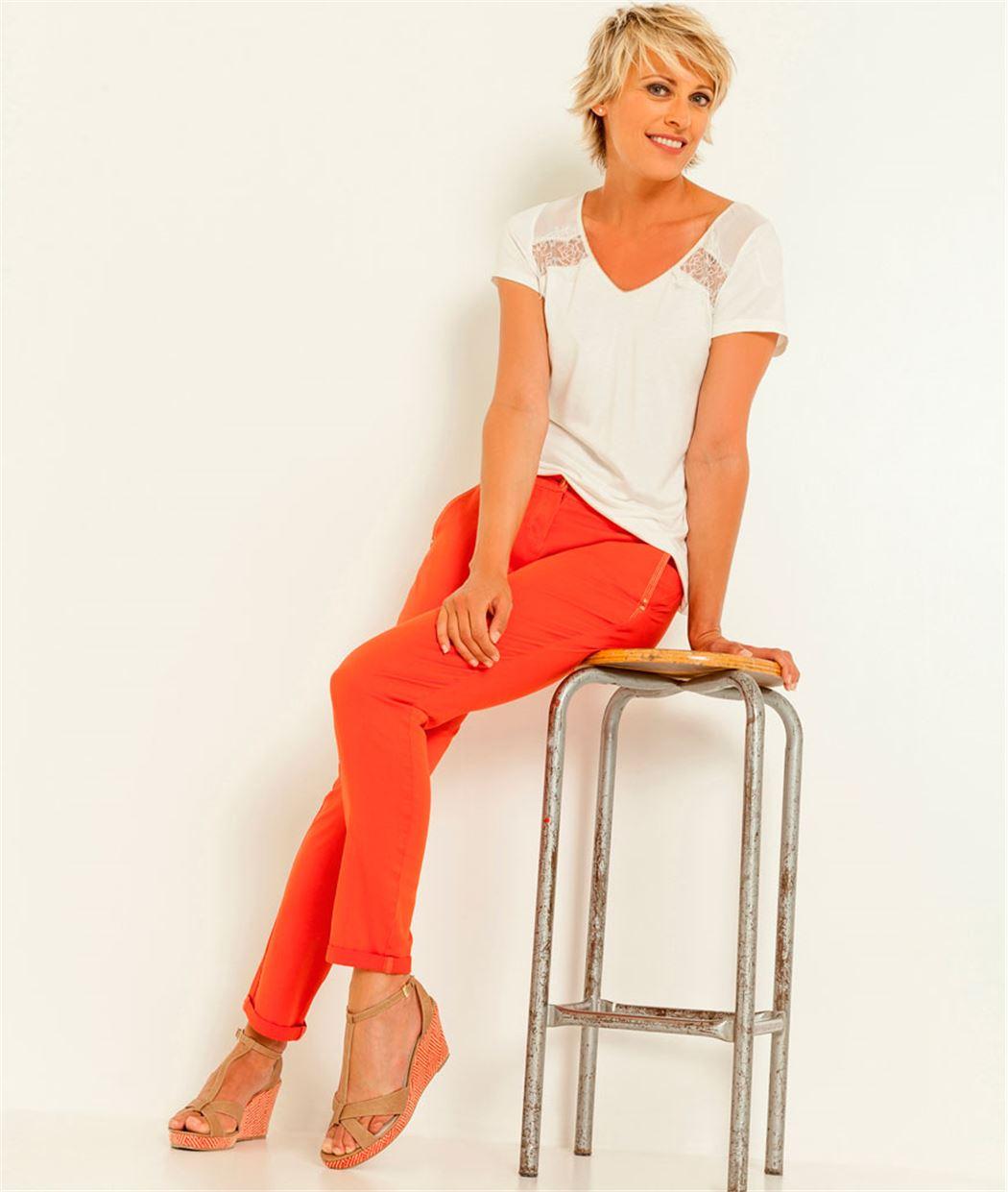 pantalon femme chino orange grain de malice. Black Bedroom Furniture Sets. Home Design Ideas