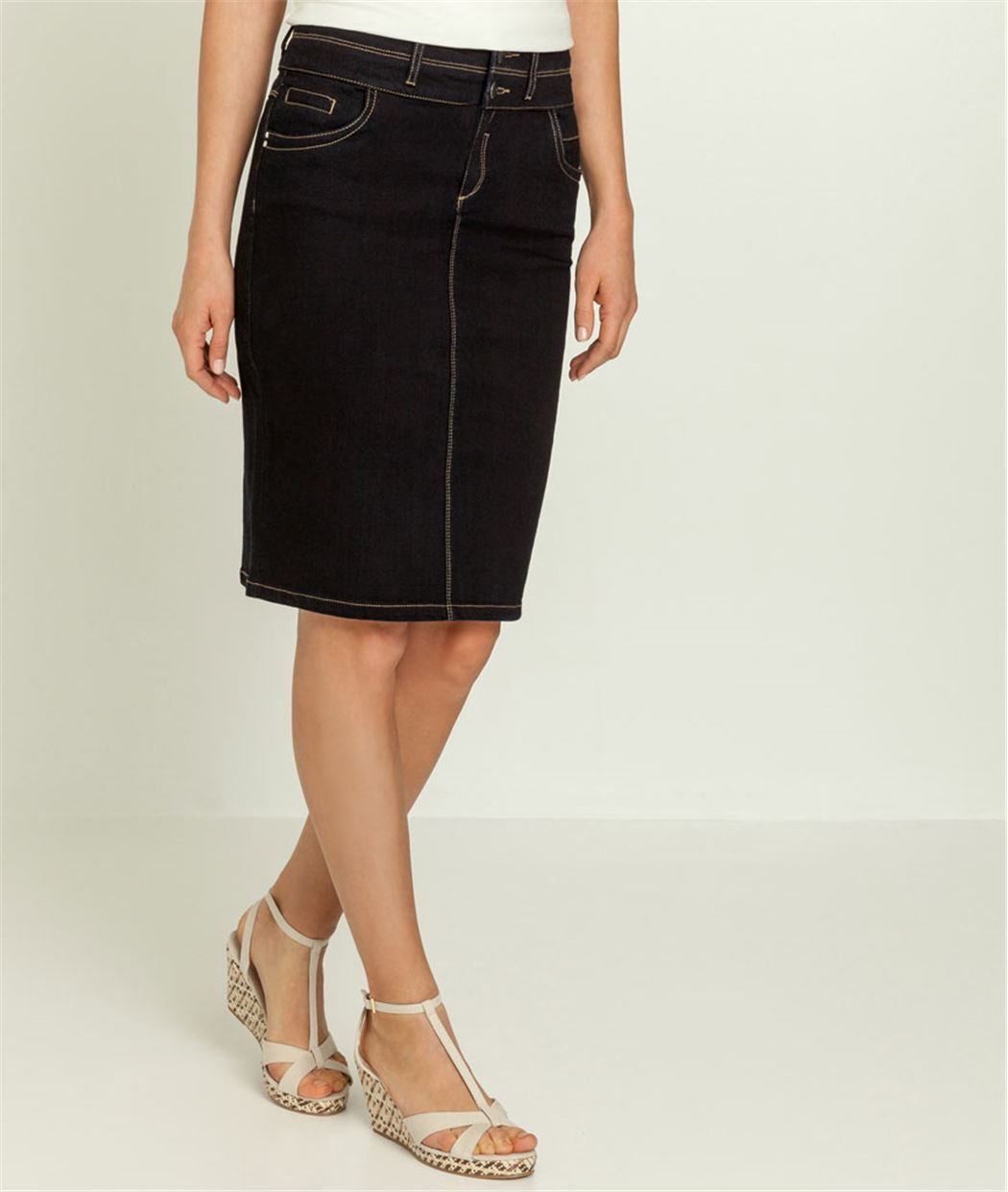 jupe en jean taille haute blue black grain de malice. Black Bedroom Furniture Sets. Home Design Ideas