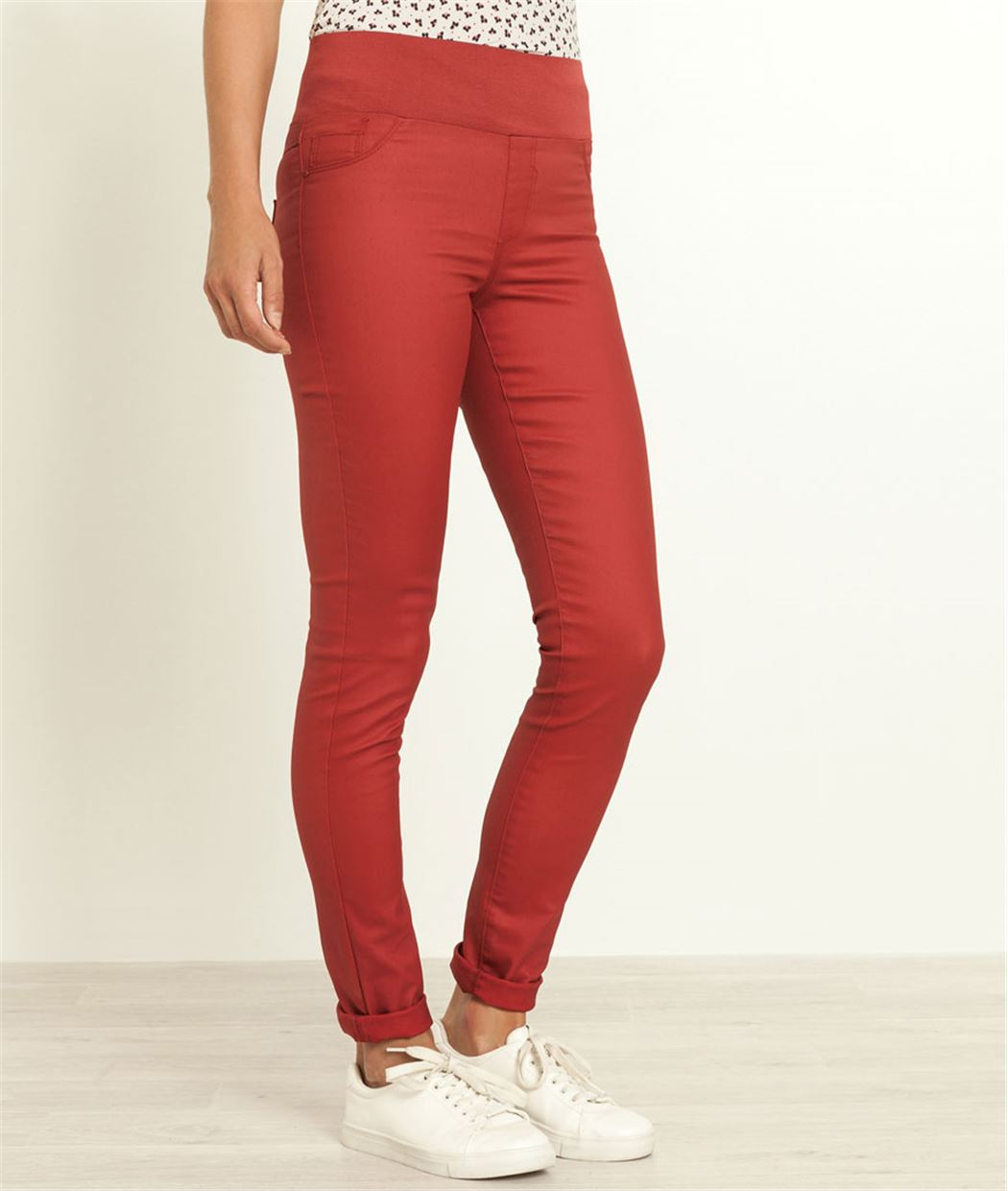 jegging femme enduit taille haute rouge grain de malice. Black Bedroom Furniture Sets. Home Design Ideas