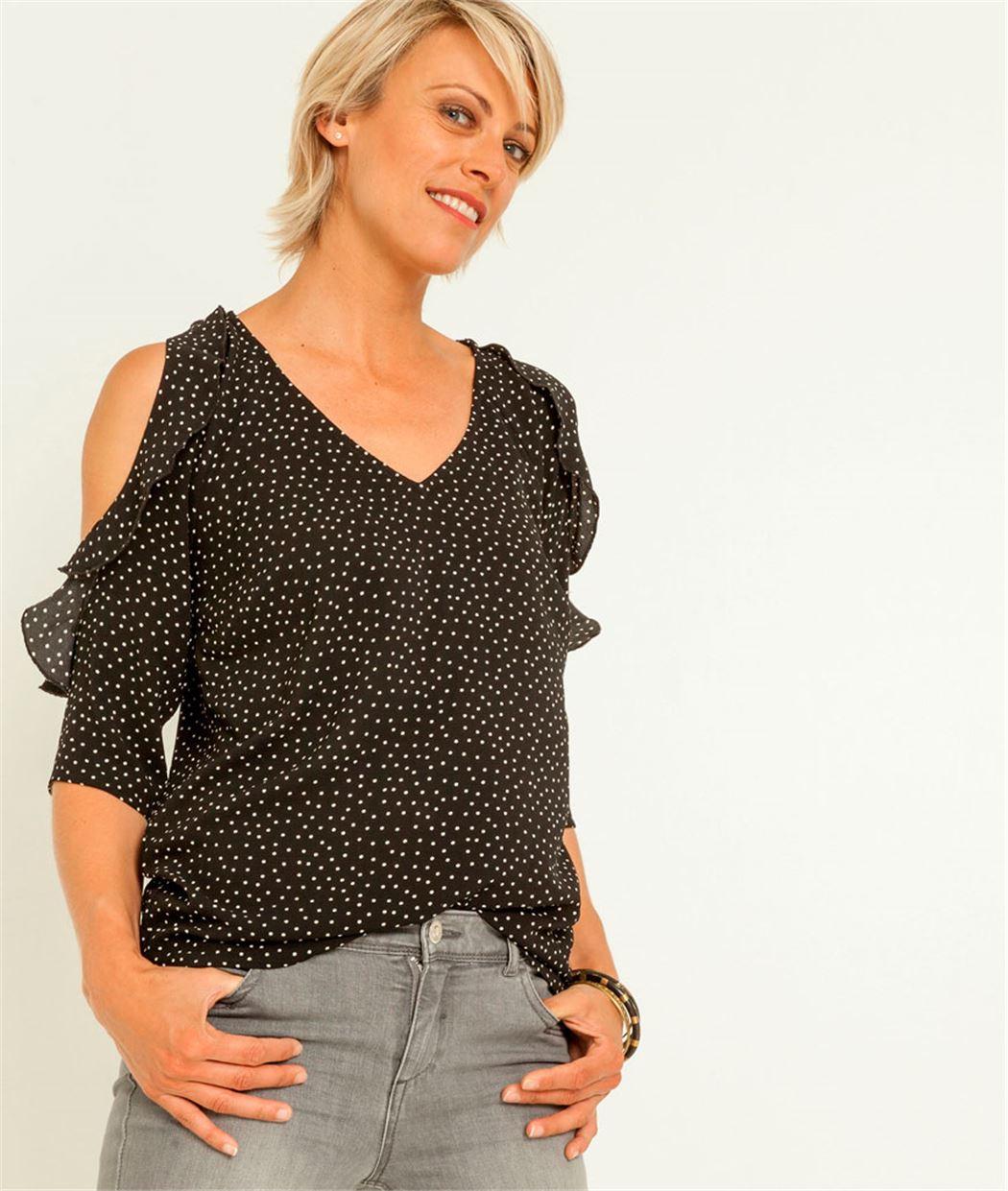 chemise femme pois et paules d nud es noir grain de malice. Black Bedroom Furniture Sets. Home Design Ideas
