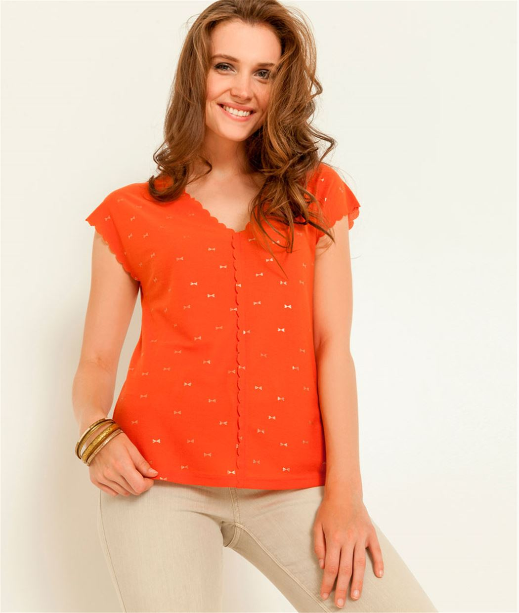 T-shirt femme col V motif irisé ORANGE